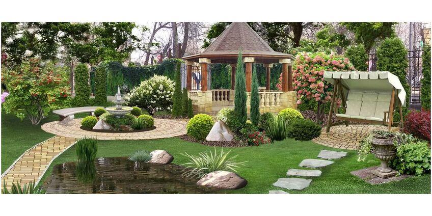 Качели садовые, как элемент ландшафтного дизайна