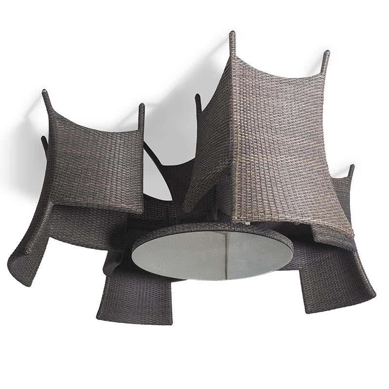 Обеденный комплект на 4 человека коричневый (круглый стол) Фото 2