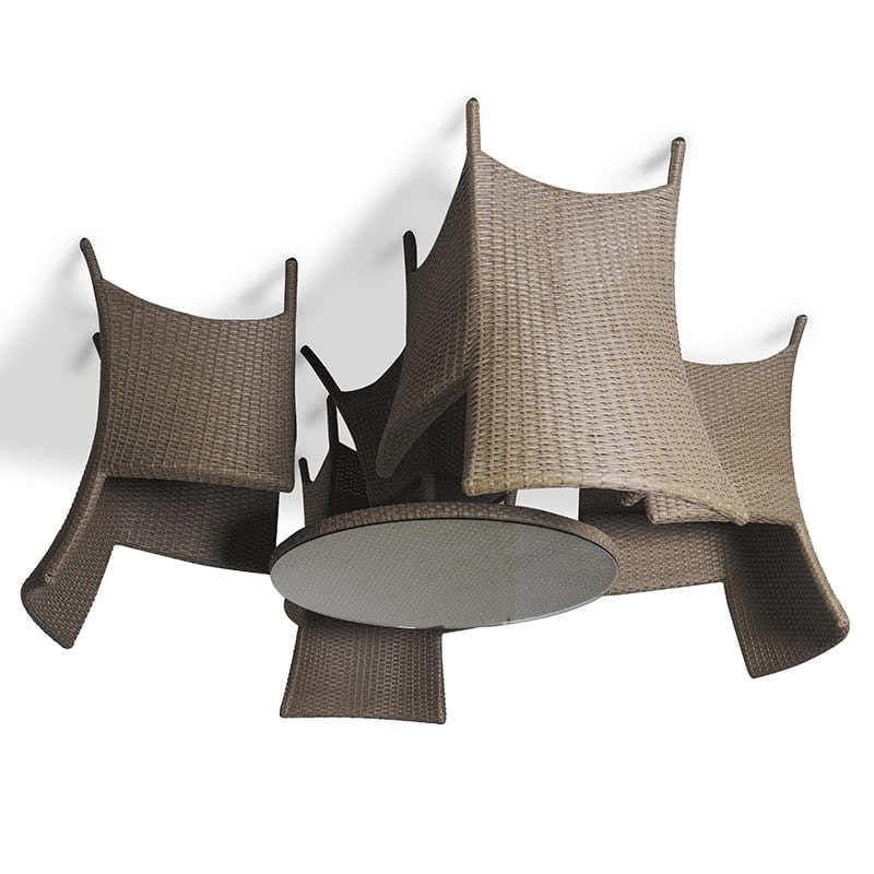Обеденный комплект на 4 человека бежевый (круглый стол) Фото 2