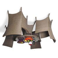 Обеденный комплект на 4 человека бежевый (круглый стол)