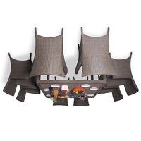 Обеденный комплект на 8 человек с креслами коричневый (квадратный стол)