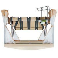 Садовые качели-беседка Премиум бежевые со столиком