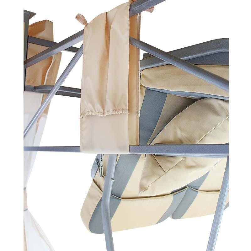 Садовые качели-беседка Премиум бежевые со столиком Фото 3