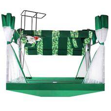 Садовые качели-беседка Премиум зеленые со столиком